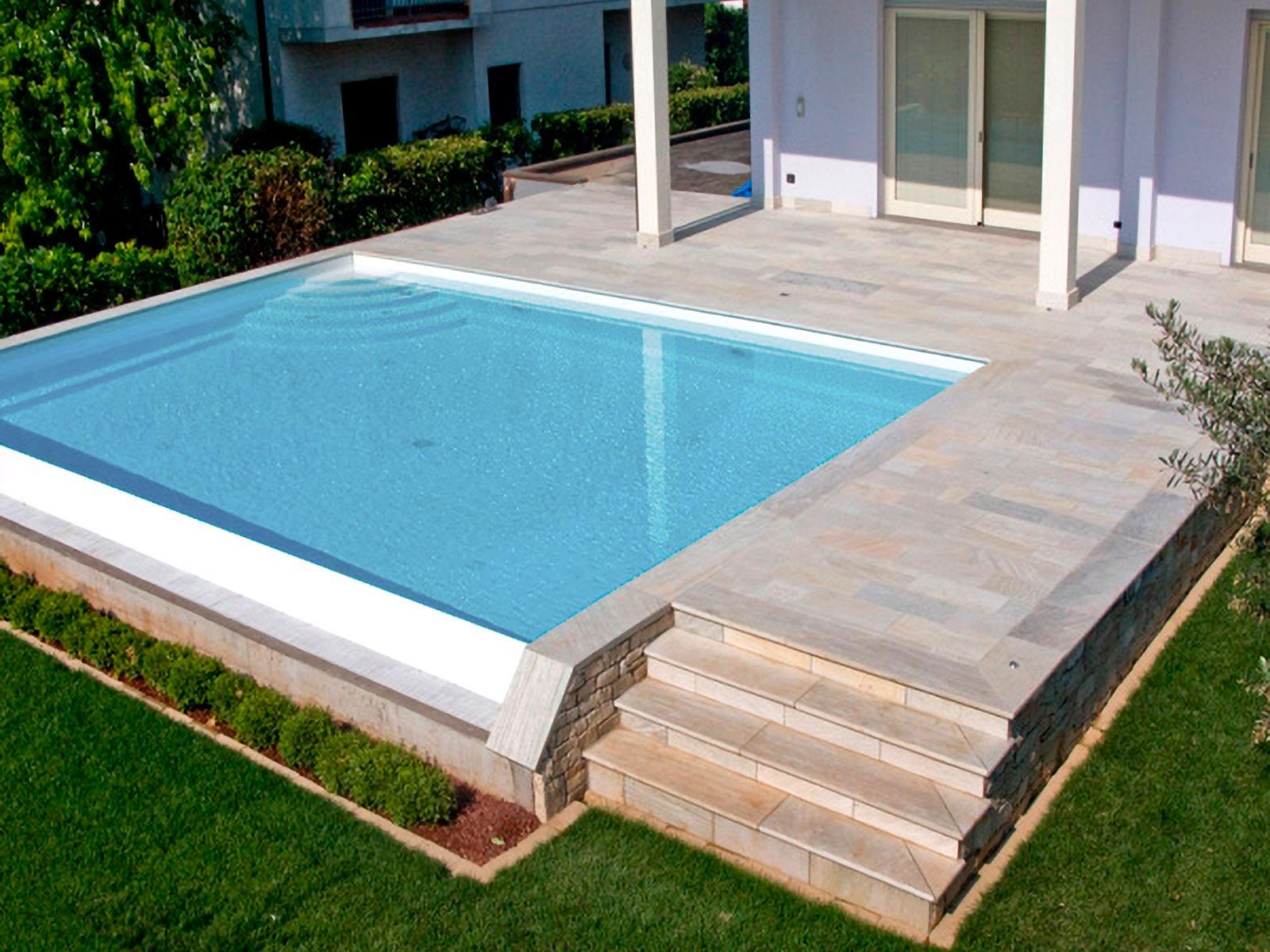 [40] Variazioni di bianchi su blu - abitazioni, piscine, quarzite, quarzite bianca, lastricato, rivestimenti a massello